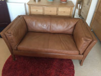 Antique Finish Leather Sofa Restoration - after